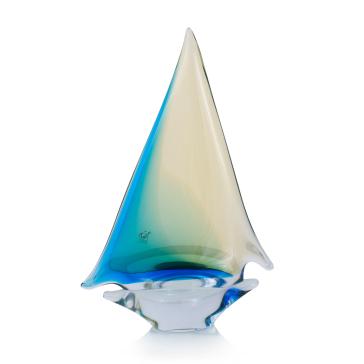Янтарно-бирюзовый парусник из муранского стекла